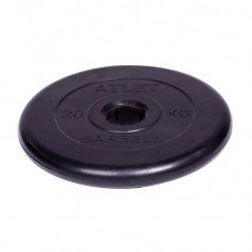 Диск обрезиненный Barbell Atlet d 51 мм чёрный 20 кг