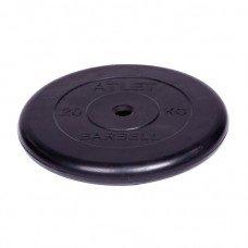 Диск обрезиненный Barbell Atlet d 26 мм чёрный 20 кг