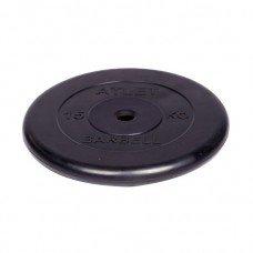 Диск обрезиненный Barbell Atlet d 26 мм чёрный 15 кг