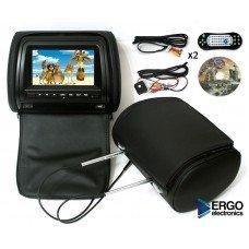Комплект подголовников со встроенным DVD плеером и LCD монитором Ergo ER 700HD (чёрный) [ER700HD black]