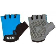 Велосипедные детские перчатки STG синего цвета. С защиткой подкладке на ладони. Застёжка на липучке.