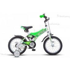 """Stels Jet 14"""" Z010 (2018) - удобная модель для детей. На велосипеде стоят ободные механические тормоза, которые дают точный результат даже в неблагоприятную погоду. Модель собрана на базе рамы STEEL (8,5"""") из стали. Модель обладает прочными покр"""